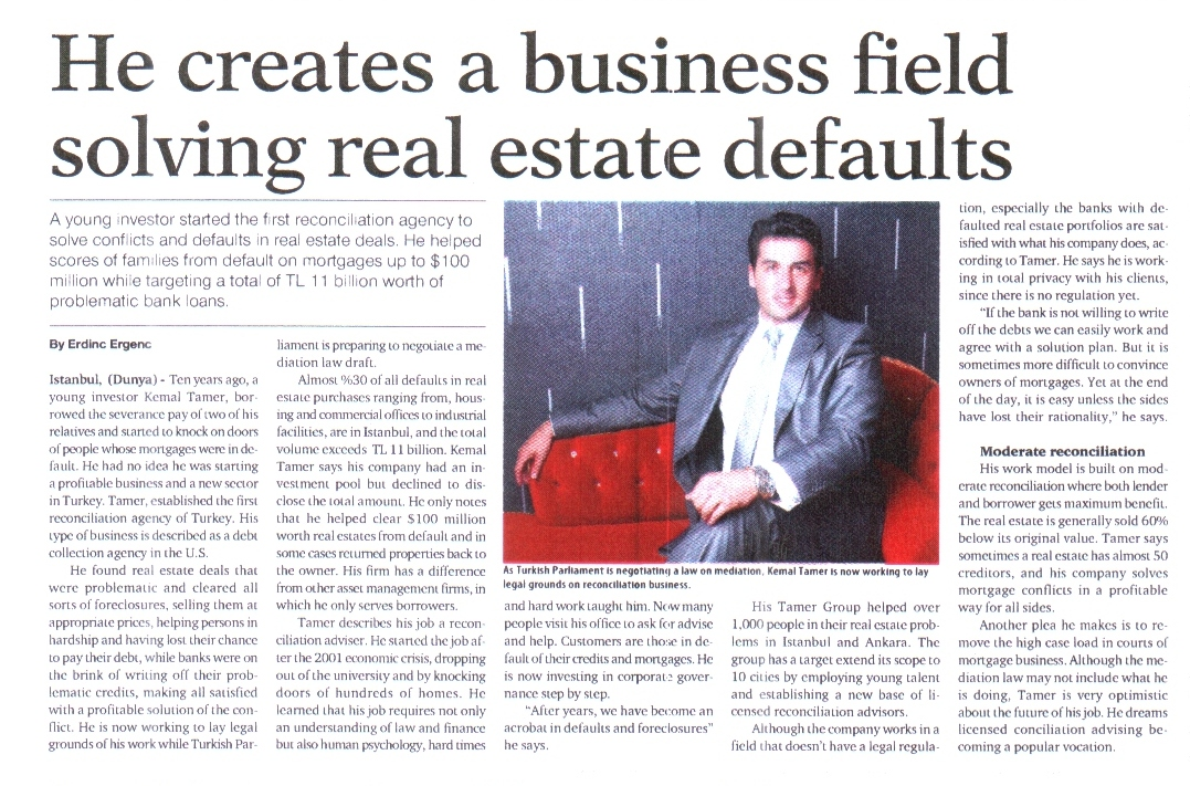 He creates a business field solving real estate defauls