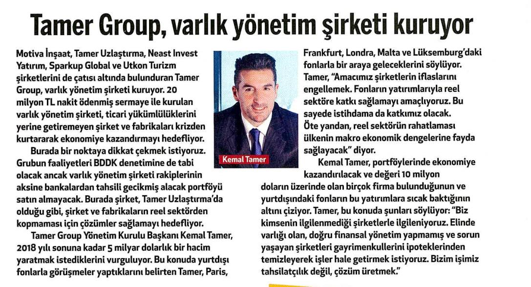 Tamer Group, Varlık Yönetim Şirketi Kuruyor.
